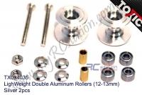 LighWeight Double Aluminum Rollers (12-13mm), Silver 2pcs  #TX004035