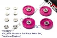 HG 13mm Aluminum Ball-Race Roller Set, Pink 4pcs (Ringless)  #TX004017