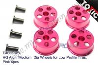 HG Alum Medium  Dia Wheels for Low Profile Tires, Pink 4pcs  #TX006028
