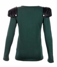 PU Shoulder Long Sleeve Tops