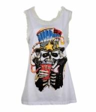 Skull Printed Mesh Sleeveless Vest