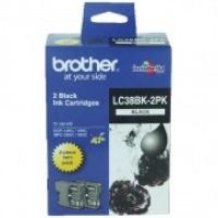 Brother LC-38BK2PK Black Genuine Original Printer Ink Cartridge Twin Pack