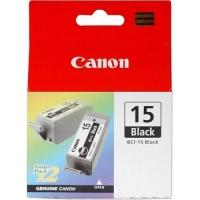 Canon BCI-15BK (8190A004AA) Black Ink (5.3ml x 2) Genuine Original Printer Ink Cartridge