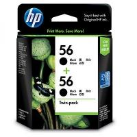 HP CC620AA 56 Black Genuine Original Printer Ink Cartridge Twin Pack