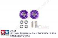 Tamiya  JR 13MM ALUMINUM BALL RACE ROLLERS - RINGLESS/PURPLE #94861