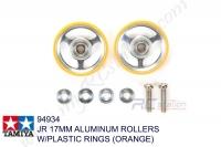 Tamiya  JR 17MM ALUMINUM ROLLERS W/PLASTIC RINGS (ORANGE) #94934