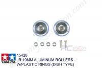 Tamiya  JR 19MM ALUMINUM ROLLERS - W/PLASTIC RINGS (DISH TYPE)  #15426
