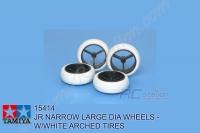 Tamiya  JR NARROW LARGE DIA WHEELS - W/WHITE ARCHED TIRES #15414