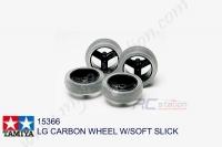 Tamiya  LG CARBON WHEEL W/SOFT SLICK  #15366