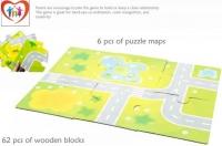 62pcs City Wooden Blocks With Puzzle Maps