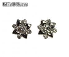 Textured White Gold Flower Earrings - ER109