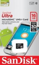 SanDisk Ultra 16GB microSDHC UHS-I C10 memory card 30MB/S (SDSDQL-016G-G35)