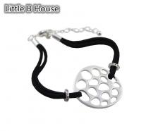 Matt Silver Hollow Honeycomb Black Rope Bracelet - BC76