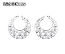Matt Silver Hollow Earrings - ER118