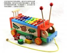 Wooden Multifunctional Tractors Serinette Toddler Glockenspiel Xylophone