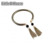 Textured Spiral Gold Tassel Bracelet