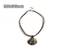 Textured Retro Striped Short Pendant Necklace