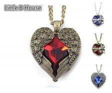 Retro Angel Wings & Heart Shape Long Necklace