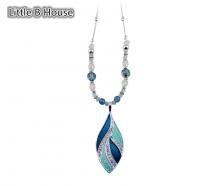 Blue Colour Leaf Silver Plated Short Necklace 38cm - NL159