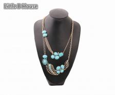 Blue & Vintage Gold Leaves Multilayer Alloy Necklace 55cm - NL175