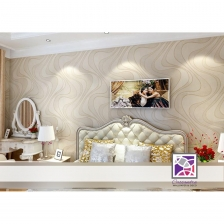 Wallpaper with Wave Pattern Light Gold
