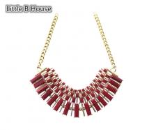 Red & Gold Colour Tassel Alloy Necklace Set 45cm - NL178