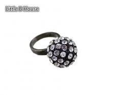 Black Colour Flash Diamond Alloy Sphere Ring 1.8cm - R01