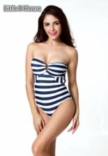 Blue & White Colour Striped Steel Prop Swimsuit - SW00504962