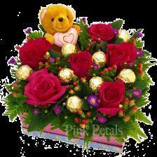 ST081 Roses/Bear/Chocolates Bouquet