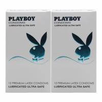 2 Boxes Playboy Lubricated Ultra Safe Condom / Kondom 12 Pack