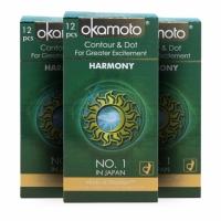 3 Boxes OKAMOTO HARMONY CONTOUR & DOT CONDOM 12'S PACK