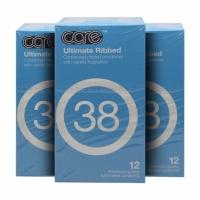 3 Boxes Care 38 Ultimate Ribbed Condom / Kondom - 12's