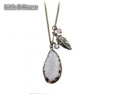 Vintage Gold Leaf-Stone Alloy Long Necklace 76cm - NL219