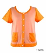 Orange Lapel Pocket Short Sleeve Blouse