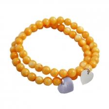 Yellow Color Beaded Alloy Bracelet 14cm - BC126