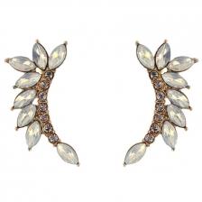 Gold Color & Transparent Artifical Crystal Alloy Earrings 3.6cm - ER181