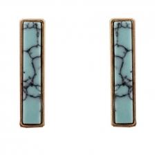 Gold Color & Blue Turquoise Rectangle Alloy Earrings 2.6cm - ER188