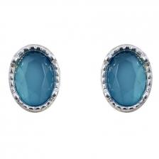 Silver Color & Blue Artifical Crystal Alloy Earrings 1.8cm - ER190