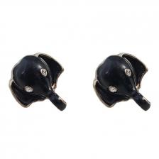 Gold Color & Black Elephants Alloy Earrings 1.6cm - ER193