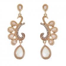 Gold Color & Beige Artifical Crystal Alloy Earrings 7.1cm - ER199