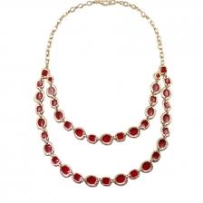 Gold & Red Color Carved Rim Multilayer Alloy Necklace 42cm - NL253