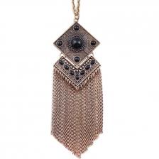 Vintage Gold & Black Stone Tassels Alloy Necklace 66cm - NL271