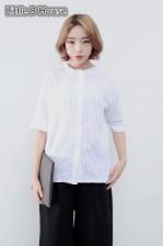 White Collar Lotus Leaf Fungus Short-sleeved Shirt -610