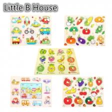 1 set 5 pcs Preschool Educational Wood Puzzle - Transportation & Fruits -BKM36