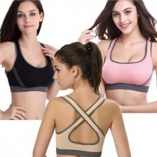 Set of 3 Cross Back Sports Bras ( Black Beige Pink)