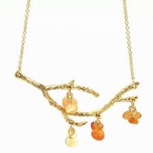 Gold Color Branch Shape Natural Agate Alloy Necklace 47cm - NL294