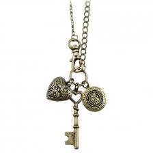 Vintage Gold Key-Heart Shape Alloy Necklace 80cm - NL304