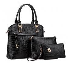 {JMI} 3 in 1 PU Crocodile Leather Luxurious Elegance Hand Bag - 4 Colors