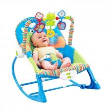 BabyQiner B680 Infant to Toddler Portable Rocker Cradle Bed with Music - Blue