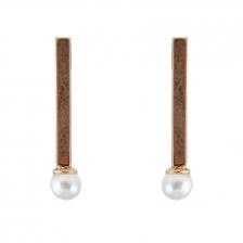 Gold Color & White Pearl Geometric Alloy Earrings 2.7cm - ER209